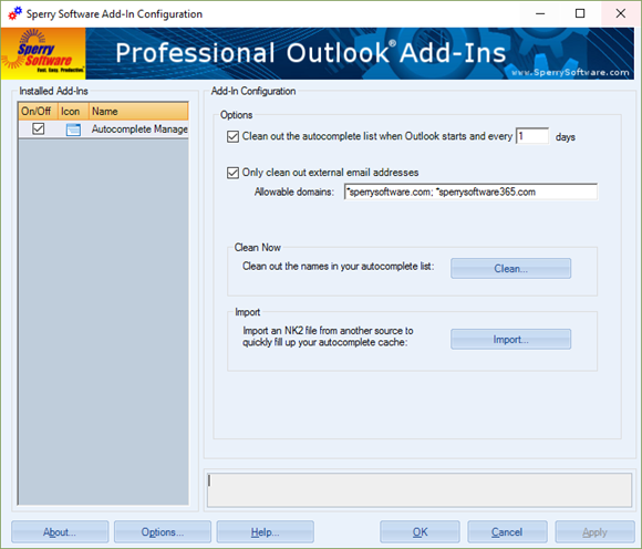 Autocomplete Manager Configuration Window