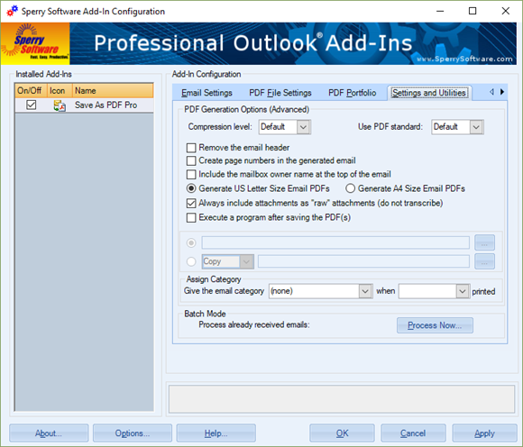 Save As PDF Pro - Settings and Utilities tab