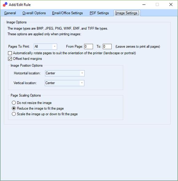 Auto-Print-Pro Rule (Image tab)