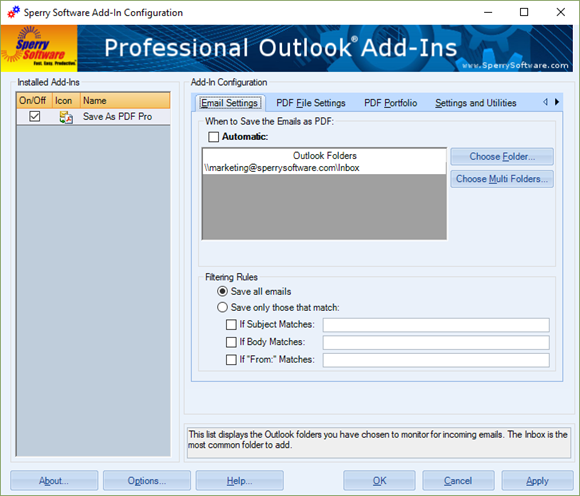Save As PDF Pro - Email Settings tab