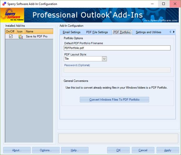 Save As PDF Pro - Portfolio tab